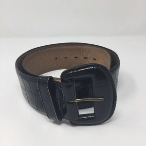 Accessories - Wide black Faux Croc Embossed Leather Belt